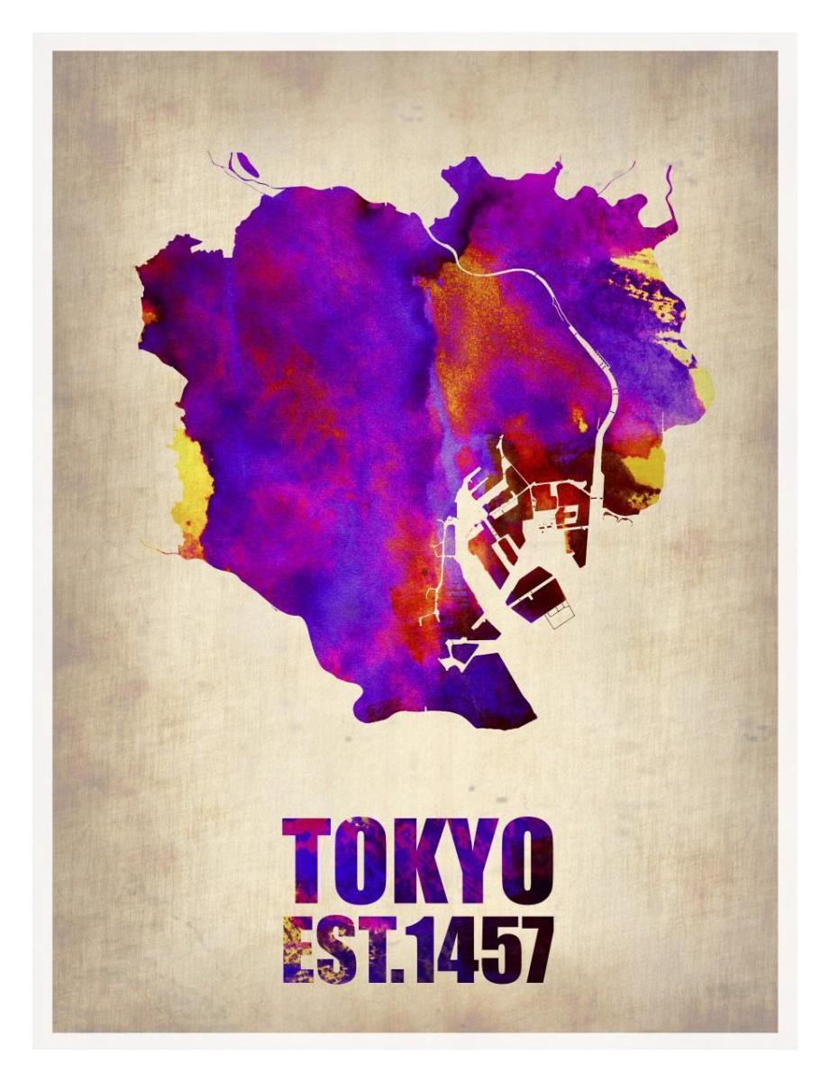Tokyo Watercolor Map 2 By Naxart Studio Canvas Print At Naxart Com