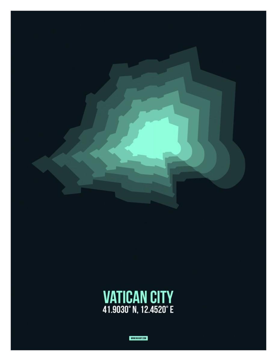 Vatican City Radiant Map 3 by NAXART Studio - Canvas Print