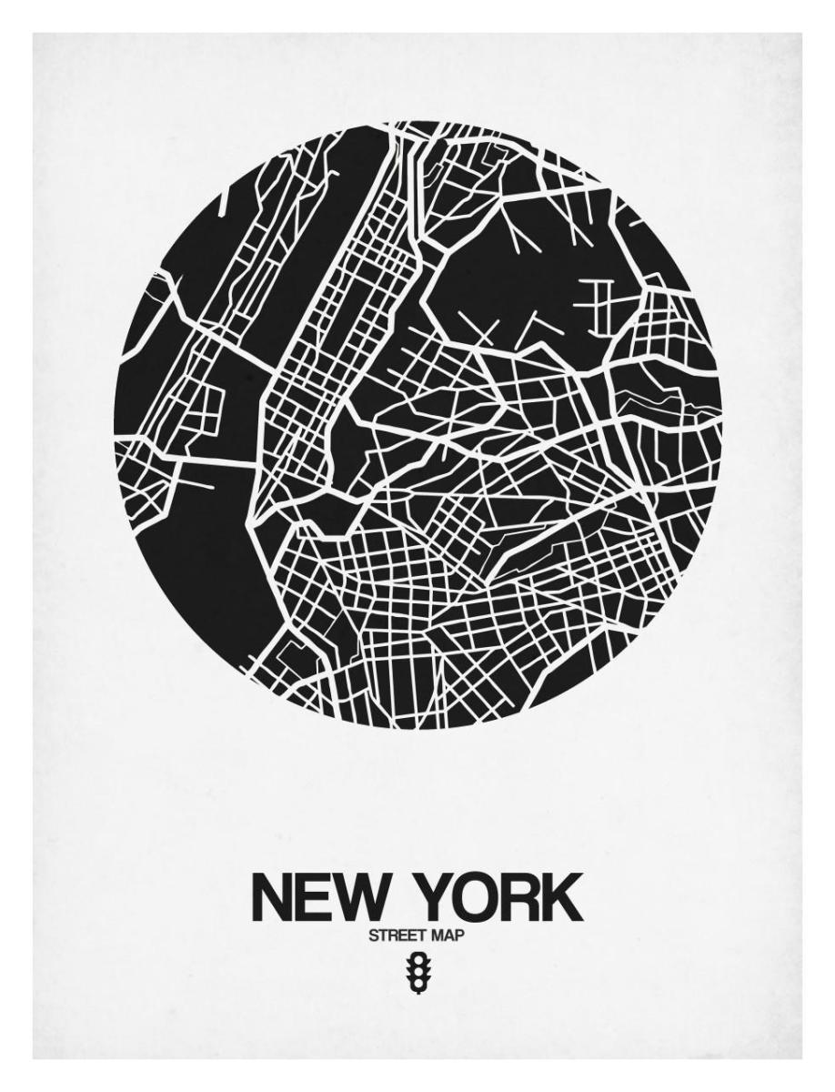 New York Street Map Black And White By Naxart Studio Canvas Print At Naxart Com