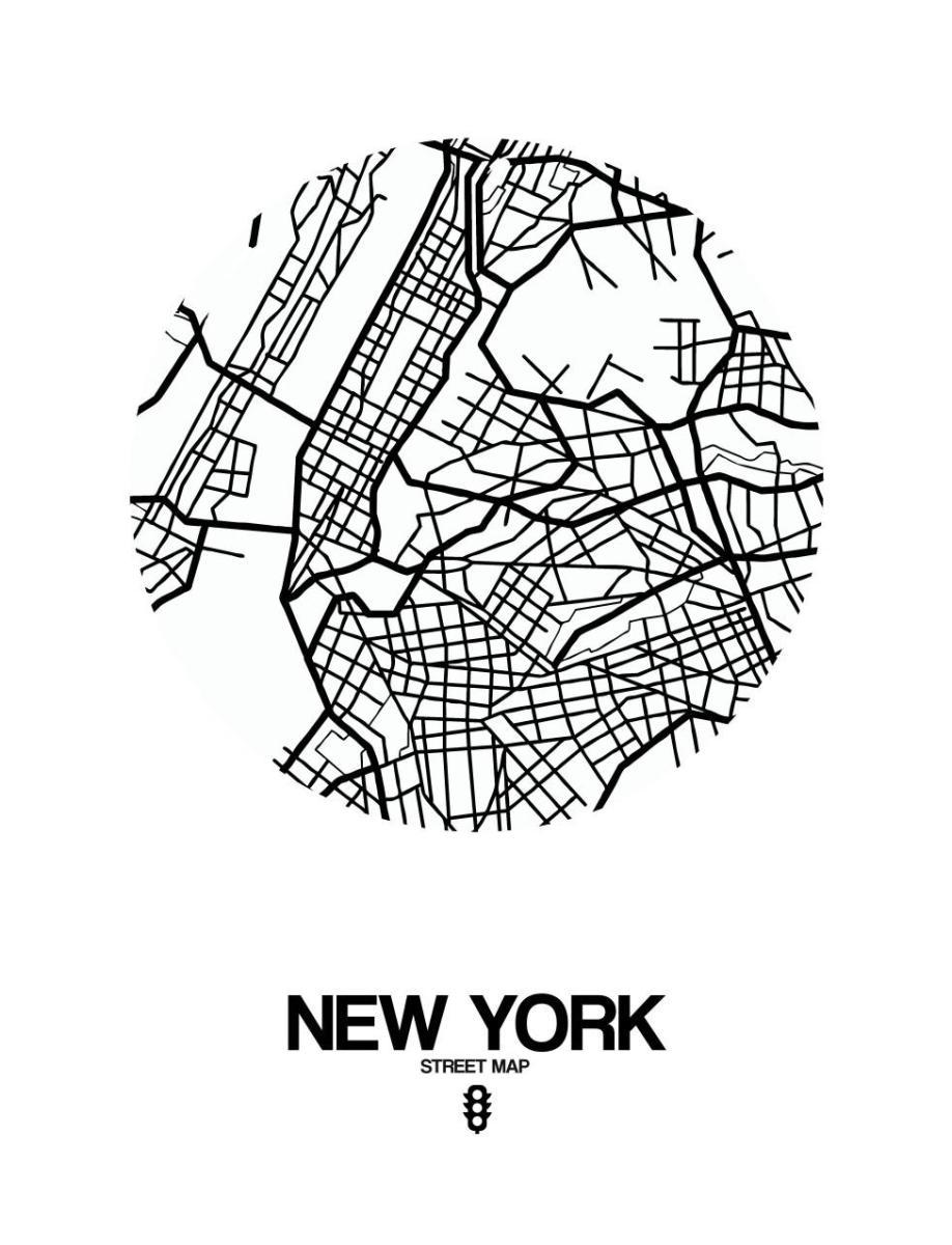 New York Street Map White By Naxart Studio Canvas Print At Naxart Com