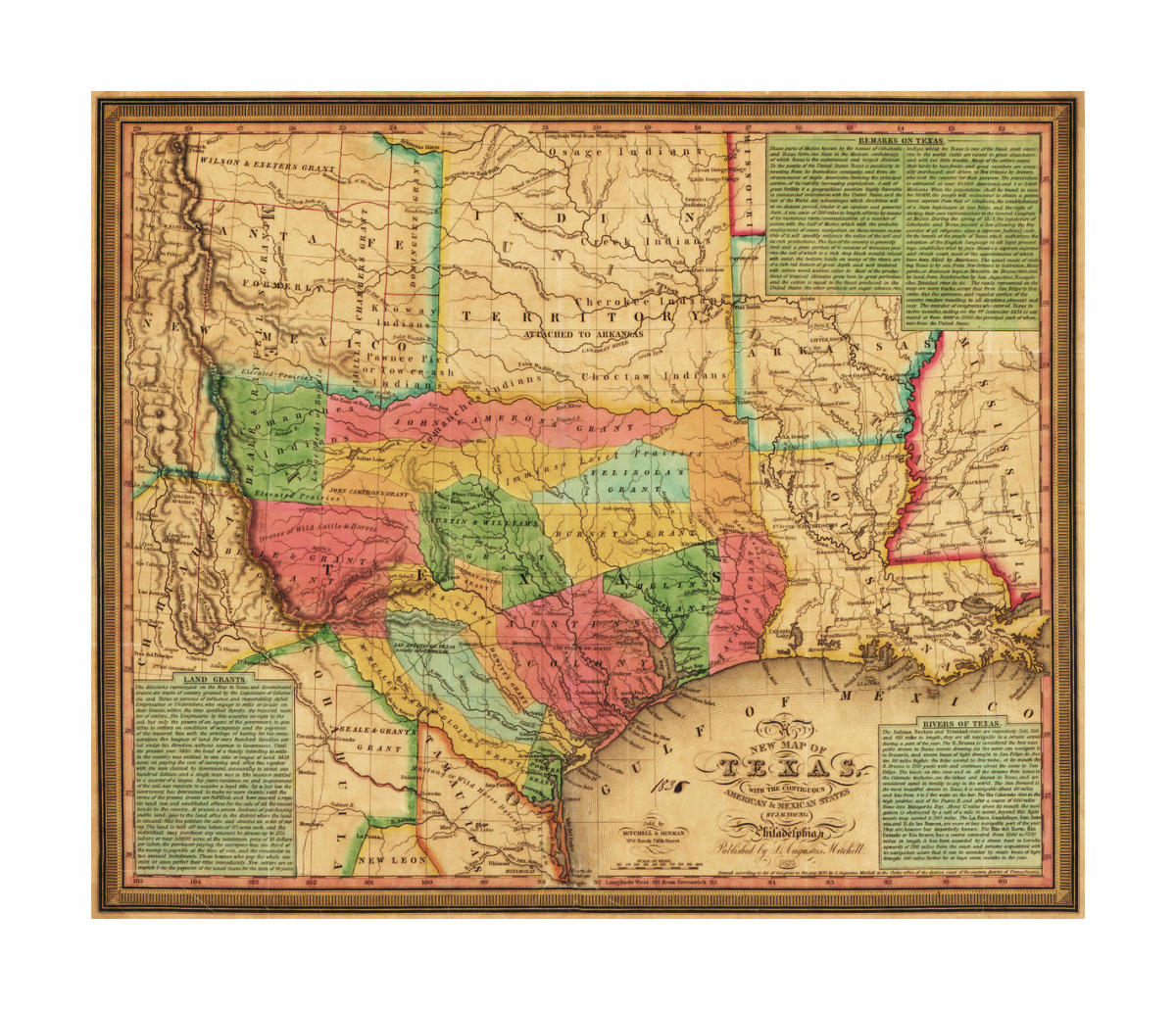 New Map Of Texas.S Augustus Mitchell New Map Of Texas With The Contiguous American Mexican States 1835