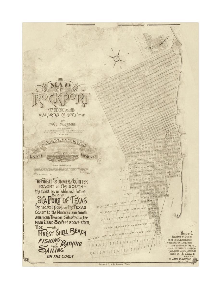 Paul McCombs Map of Rockport Texas, Aransas County 1888 on map of galveston texas, map of austin texas, map of fulton texas, map of laredo texas, map of united states texas, map of port aransas texas, map of mustang island texas, map of port arthur texas, map of nueces river texas, map of lamar texas, map of sinton texas, map of kingsville texas, map of corpus christi texas, map of copano bay texas, map of south texas, map of texas texas, map of se texas, map of laguna madre texas,