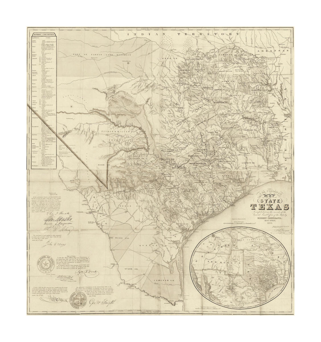 A Map Of The State Of Texas.Jacob De Cordova Map Of The State Of Texas Compiled From The Records Of The General Land Office Of The State 1851