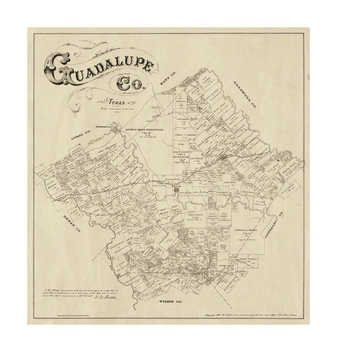 Map Of Texas Capitol.Texas General Land Office Map Of Guadalupe County Texas 1880