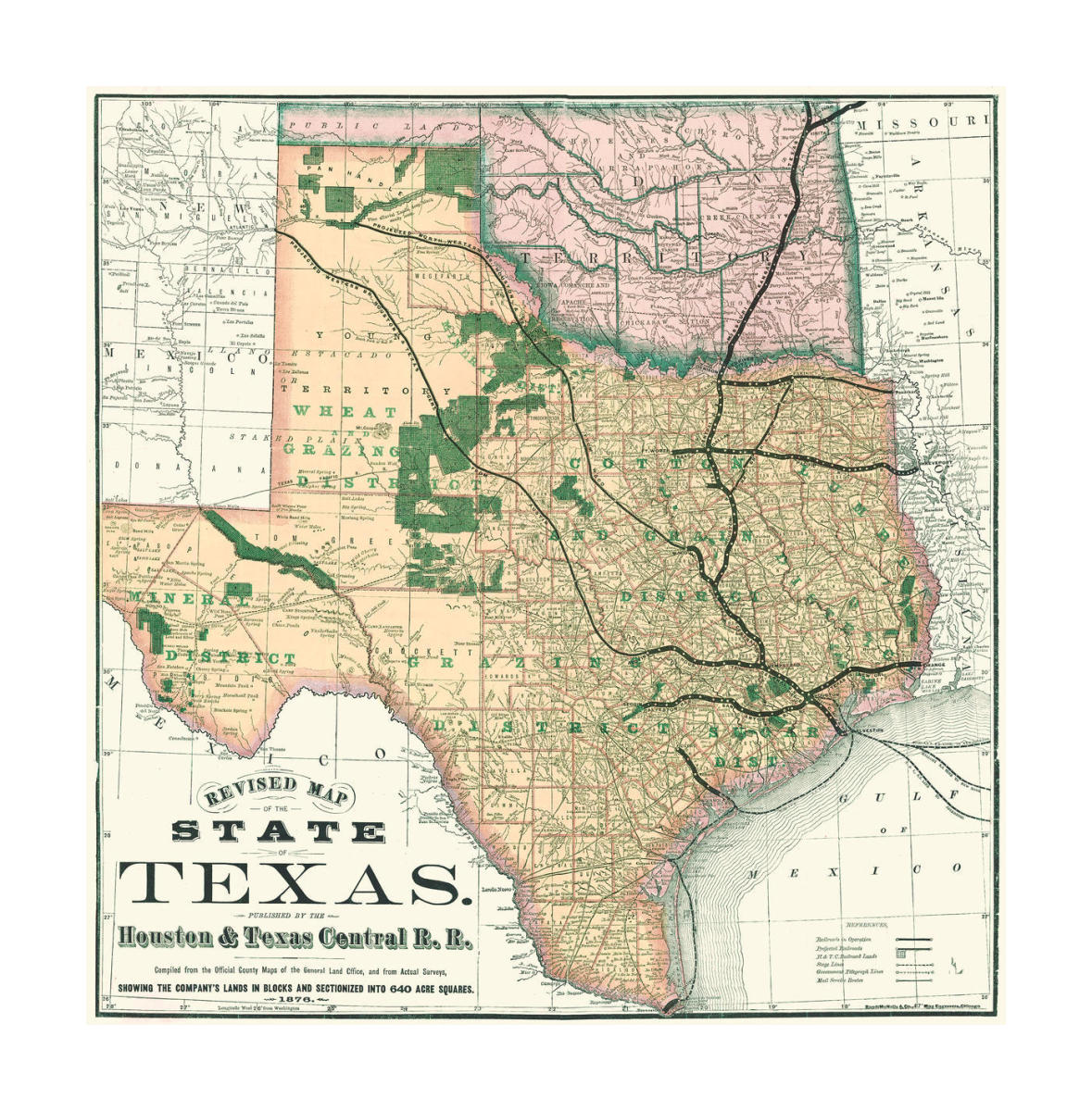 Houston And Texas Central Railroad Revised Map Of The State Of