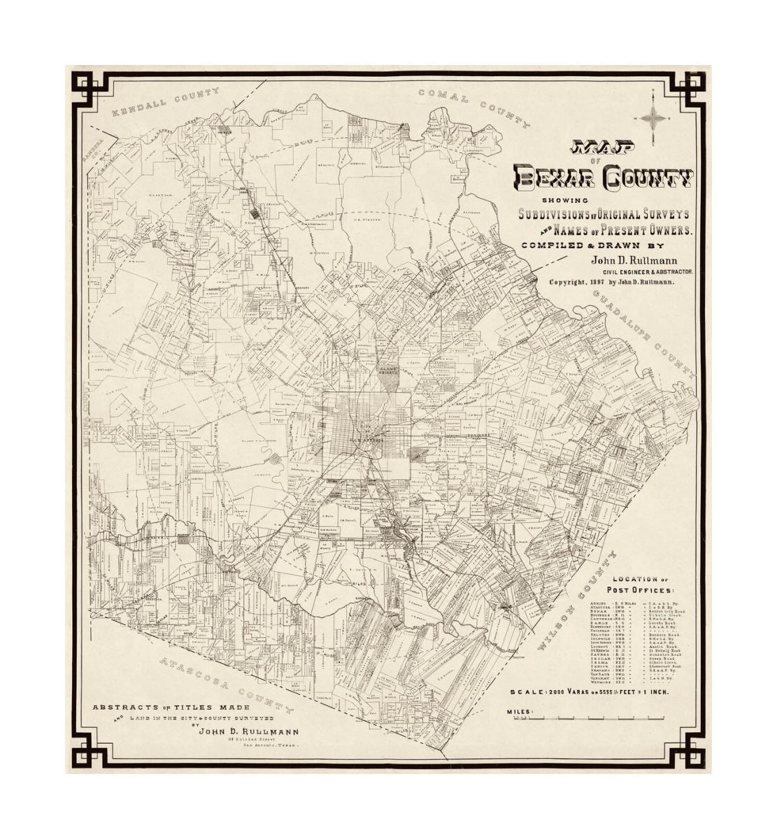 Map Of Texas Capitol.John D Rullmann Map Of Bexar County Showing Subdivisions Of Original Surveys And Names Of Present Owners 1897
