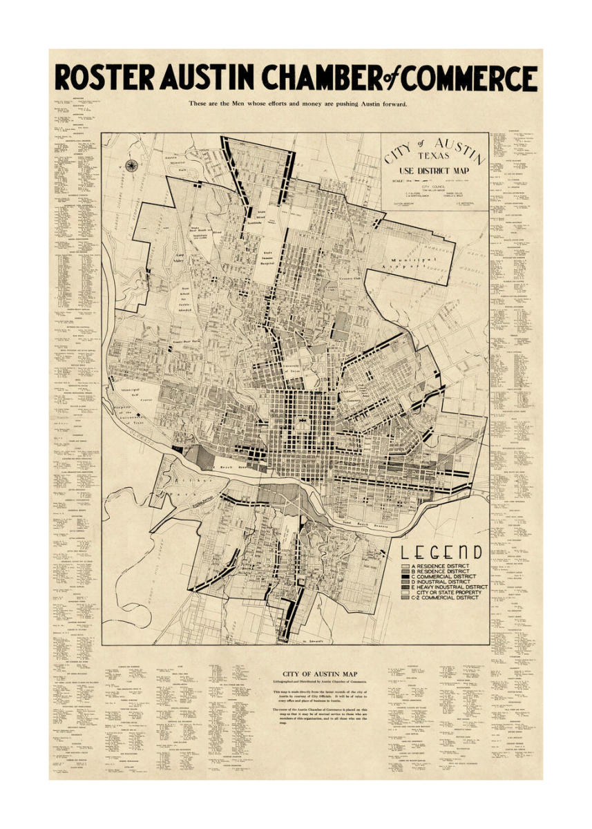 Map Of Texas Capitol.Austin Chamber Of Commerce City Of Austin Texas Use District Map With Chamber Of Commerce Roster 1939