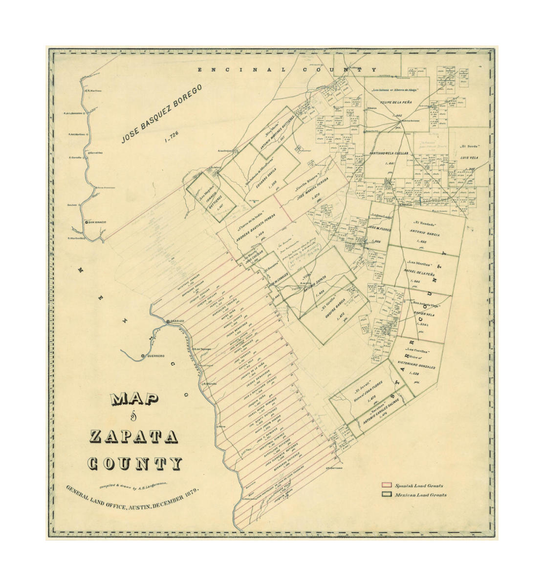 Map Of Zapata Tx.A B Langerman Map Of Zapata County 1879