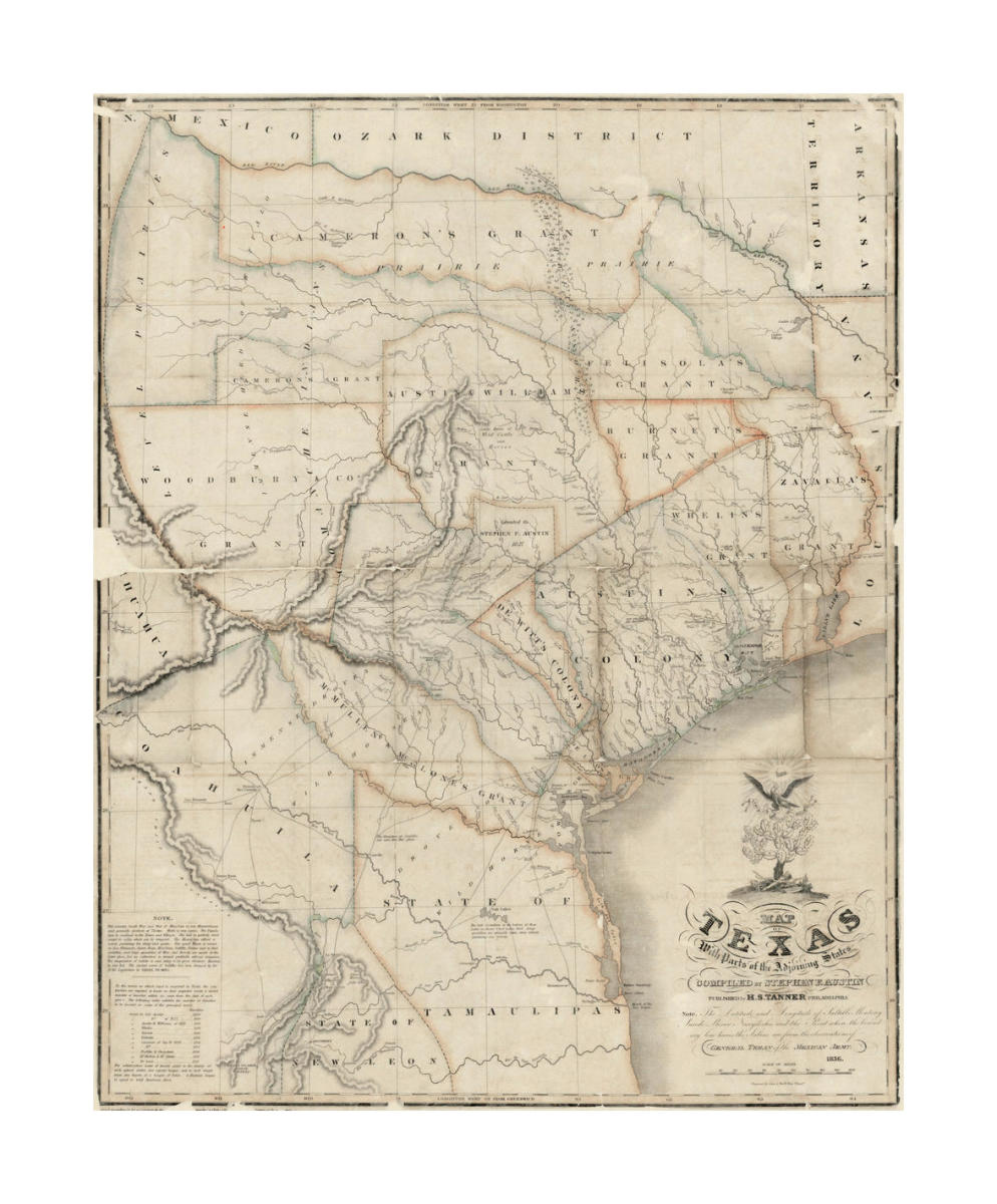 Map Of Texas 1836.Stephen F Austin Map Of Texas With Parts Of The Adjoining States 1836